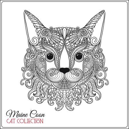 Decoratieve maine coon Cat. Vector illustratie. Deze illustratie kan gebruikt worden als een wenskaart of als print op T-shirts en tassen.