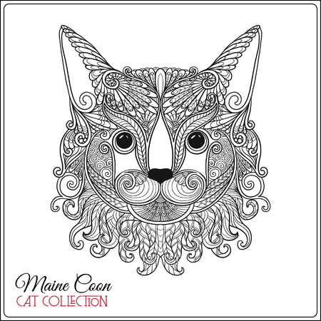 Decorative maine coon Cat. Vector illustration. This illustration can be used as a greeting card or as a print on T-shirts and bags.
