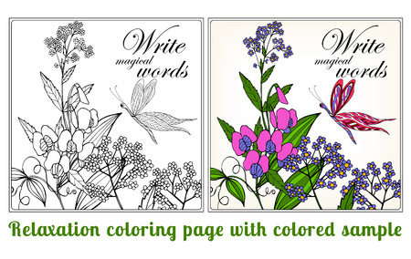vector sample: Decorative flowers, birds and butterflies. Coloring book for adult and older children. Coloring page with space for text, with colored sample Outline drawing. Vector illustration.