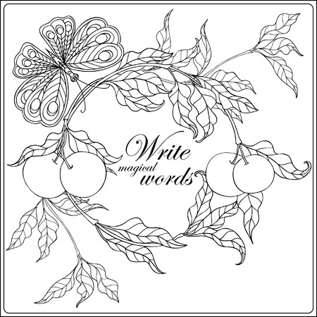 Decorative flowers, birds and butterflies. Coloring book for adult and older children. Coloring page with space for text. Outline drawing. Vector illustration.