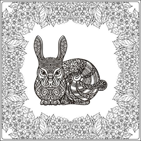 Lapin dans le cadre floral. livre à colorier pour les adultes et les enfants plus âgés. Coloriage. Dessin au trait. Vector illustration.
