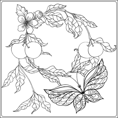 Decorative flowers, birds and butterflies. Coloring book for adult and older children. Coloring page. Outline drawing. Vector illustration.