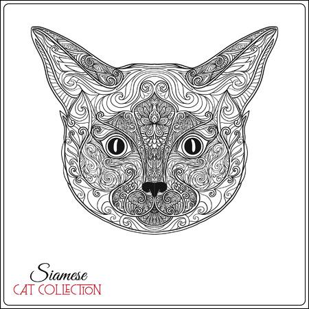 装飾的なシャム猫。ベクトルの図。この図は、グリーティング カードや t シャツやバッグにプリントとして使用できます。  イラスト・ベクター素材