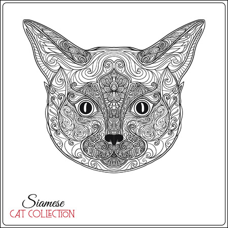 Decorative siamese cat. Vector illustration. This illustration can be used as a greeting card or as a print on T-shirts and bags. Ilustração