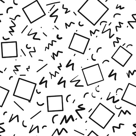 Vintage retrô anos 80 ou 90 anos moda estilo abstrato sem costura de fundo. Bom para design de tecido têxtil, papel de embrulho e wallpapers website. Preto e branco. Ilustração vetorial Foto de archivo - 57227967
