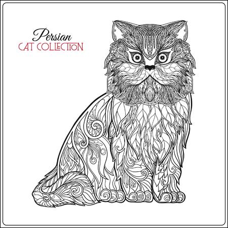 Dekorative persische Katze. Vektor-Illustration. Diese Abbildung kann als Grußkarte oder als Druck auf T-Shirts und Taschen verwendet werden.