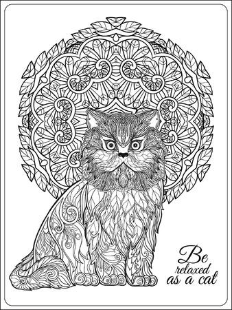 Decorative Cat With Mandala. Vector Illustration. Adult Coloring ...