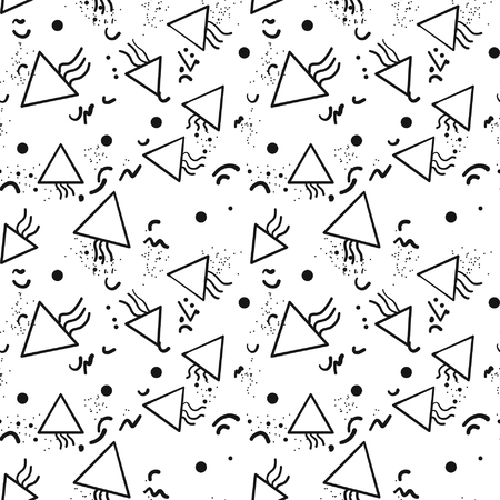 90s: Retro vintage 80s or 90s fashion style abstract seamless pattern background. Good for textile fabric design, wrapping paper and website wallpapers. Black and white. Vector illustration.