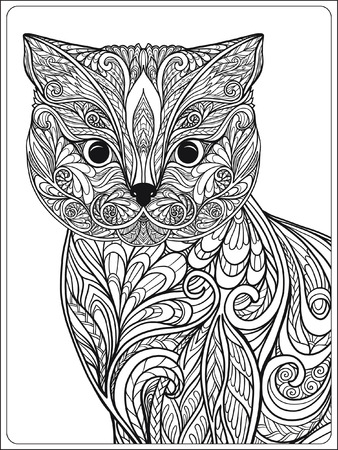 hand print: Decorative Cat. Vector illustration.  Adult Coloring book. Coloring page. Vector illustration. Illustration