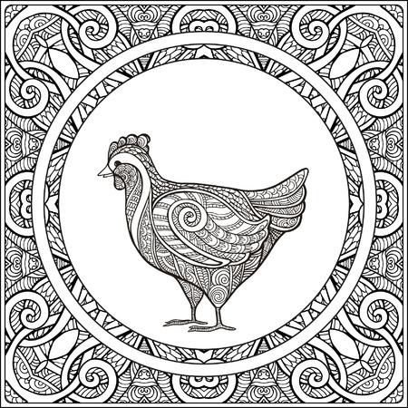 vector illustration  hen: Hen on pattern background. Coloring book for adult and older children. Coloring page. Outline drawing. Vector illustration.