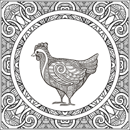 Hen on pattern background. Coloring book for adult and older children. Coloring page. Outline drawing. Vector illustration.