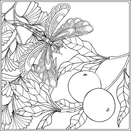 dessin au trait: fleurs décoratives, les oiseaux et les papillons. livre à colorier pour les adultes et les enfants plus âgés. Coloriage. Dessin au trait. Vector illustration. Illustration