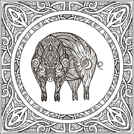 Pig on pattern background. Coloring book for adult and older children. Coloring page. Outline drawing. Vector illustration.