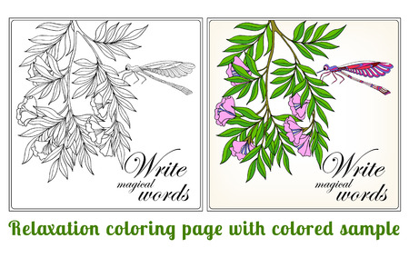 superscription: Decorative flowers, birds and butterflies. Coloring book for adult and older children. Coloring page with space for text, with colored sample Outline drawing. Vector illustration.
