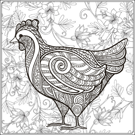 vector image: Hen on floral background. Coloring book for adult and older children. Coloring page. Outline drawing. Vector illustration.
