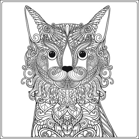 Decorative Cat. Vector illustration.  Adult Coloring book. Coloring page. Vector illustration. Çizim