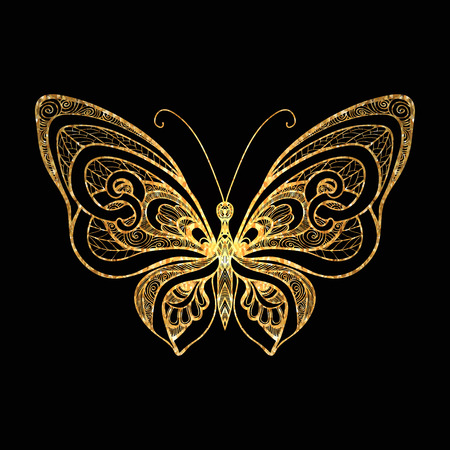 黒の背景に装飾的な金蝶。ベクトルの図。