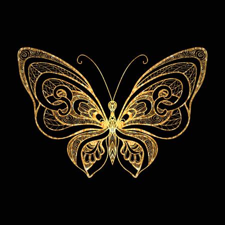 Decoratieve gouden vlinder op een zwarte achtergrond. Vector illustratie.