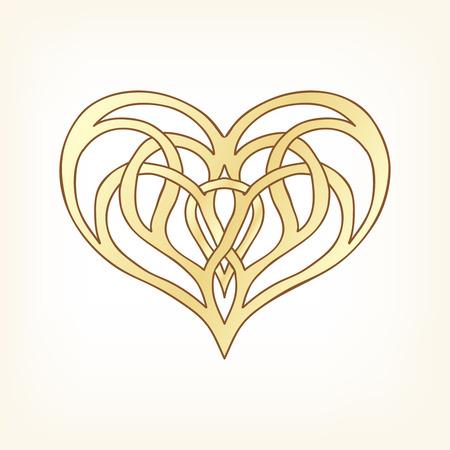 Corazón del amor del oro en el fondo whita. Ilustración del vector. En estilo art deco, estilo art nouveau. Ilustración de vector
