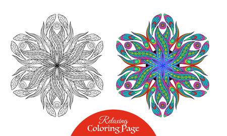 mendi: Ethnic Amulet. Coloring book for adult and older children. Coloring page with colored sample. Vector illustration.