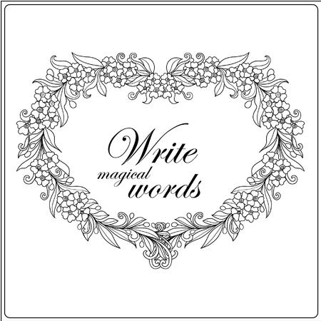 Kleurboek voor volwassenen en oudere kinderen. Kleurplaat met decoratieve bloemen frame en ruimte voor tekst. getekende omtrek de hand. Vector illustratie.