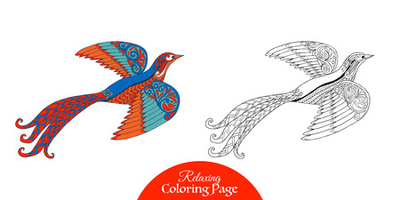 vector sample: Decorative bird. Coloring book for adult and older children. Coloring page with colored sample. Outline drawing. Vector illustration.
