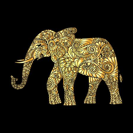 royal safari: Gold decorative elephant ?n black background. Vector illustration.