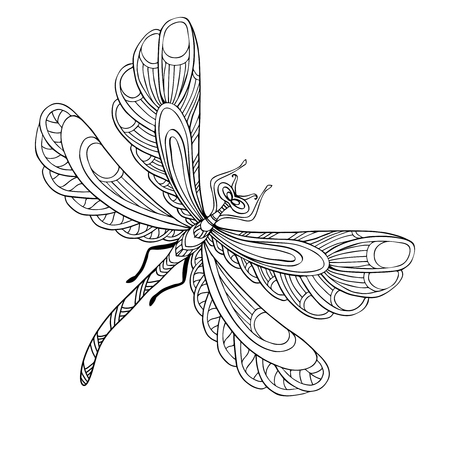 Decorative butterfly. Coloring book for adult and older children. Coloring page. Outline drawing. Vector illustration. Illustration