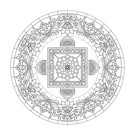 Tibet ethnic mandalas and elements. Outline drawing. Vector illustration. Coloring book for adult and older children. Coloring page. Çizim