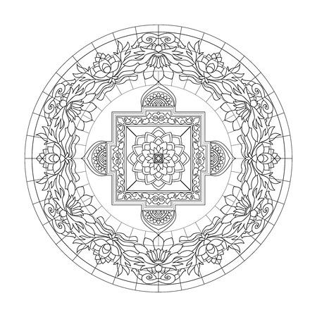 Tibet etnische mandala's en elementen. Schets. Vector illustratie. Kleurboek voor volwassenen en oudere kinderen. Kleurplaat.