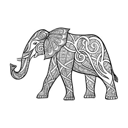 decorative line: Decorative elephant. Outline drawing. Vector illustration.