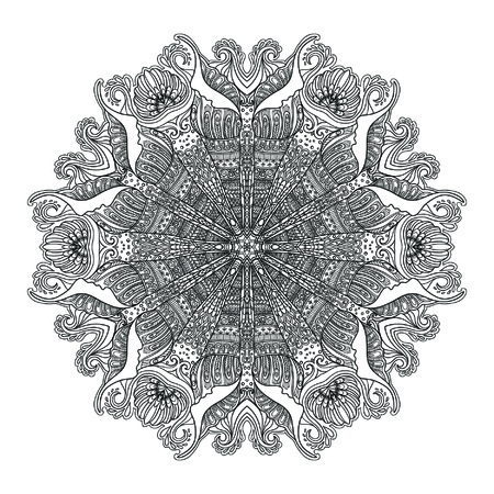 serviette: Sea mandala with sea shells, corals and fishes. Coloring book for adult and older children. Outline drawing. Coloring page. Illustration