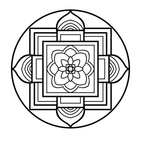チベット民族のマンダラと要素。図面の概要を説明します。ベクトルの図。大人およびより古い子供のための塗り絵。ページを着色。