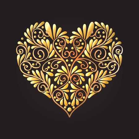검은 색 바탕에 골드 사랑 마음입니다. 벡터 일러스트 레이 션. 아트 데코 스타일, 아르누보 스타일에서.