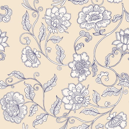 flower age: Vintage floral seamless pattern.  Vector illustration.