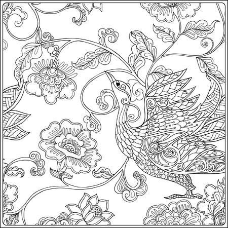 Patrón Floral Vintage. Dibujo De Esquema. Libro De Colorear Para ...