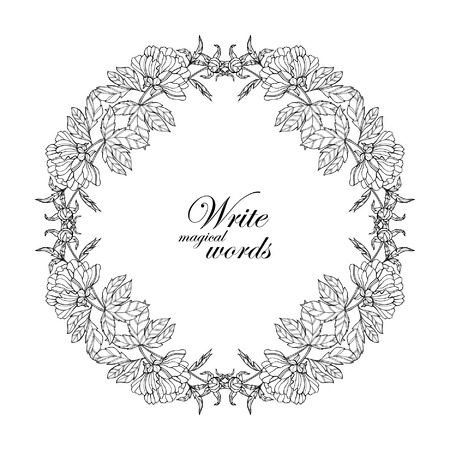 Decorative vintage flowers frame, border with space for any text.  Coloring book for adult and older children. Coloring page. Vector illustration.