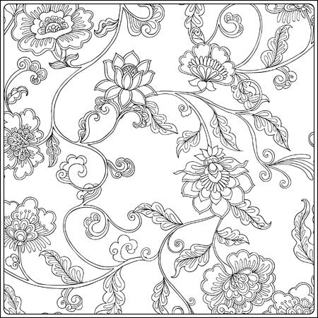 Floral pattern Vintage. Disegno del contorno. Libro da colorare per adulti e bambini di età superiore in stile vintage. colorare. Illustrazione vettoriale.
