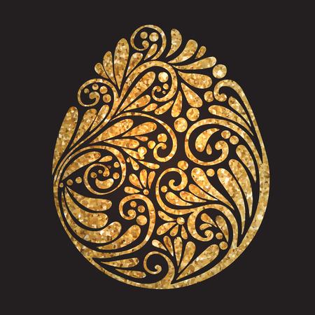 Decorative Gold Easter Egg on black background. Vector illustration