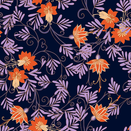 ages: Seamless middle ages floral vintage pattern. Vector illustration.
