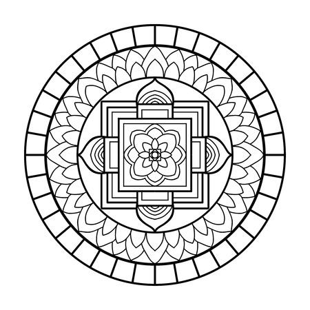 Tibet ethnic mandalas and elements. Outline drawing. Vector illustration. Coloring book for adult and older children. Coloring page. Vettoriali