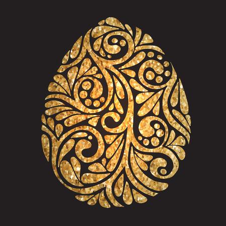 Decorative Gold Easter Egg on black background. Vector illustration Vettoriali