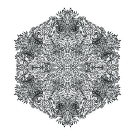 Mandala Mar Con Conchas De Mar, Corales Y Peces. Libro De Colorante ...