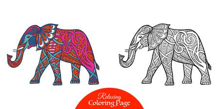 Elefante decorativos. Dibujo de esquema. Ilustración del vector.