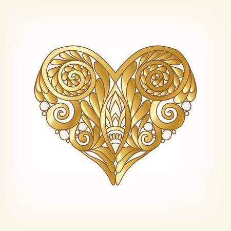 Whita の背景にゴールドの愛の心。ベクトルの図。アールデコ様式、アール ヌーボー様式。