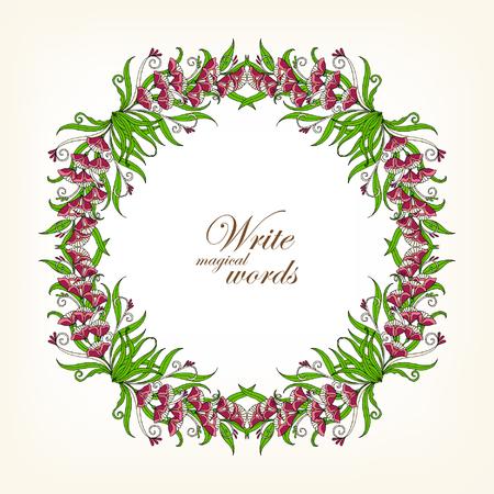 Marco Floral Coloreado Con Las Flores Del Estilo Del Vintage ...