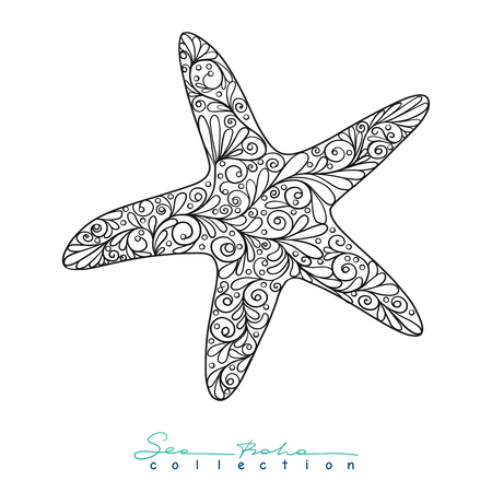 etnic: Sea star. Element from Sea boho collection. Vector illustration.