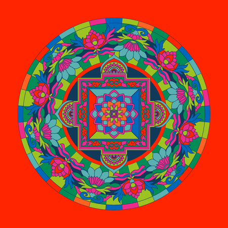 tibet: Tibet ethnic colored mandalas and elements. Vector illustration.