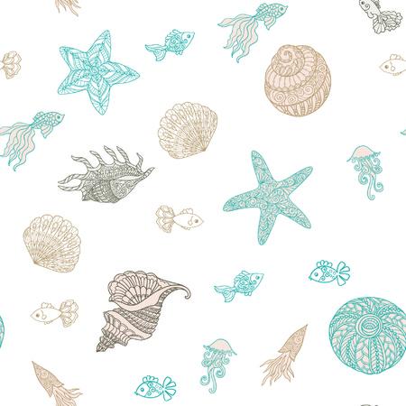 海海の貝とのシームレスなパターン。ベクトルの図。