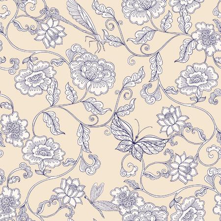 ヴィンテージ花柄シームレス パターン。 ベクトルの図。